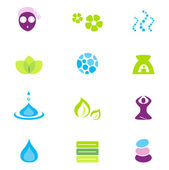Wellness, spa and nature vector icons isolated on white — Stock Vector