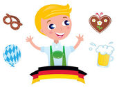 Cute bavarian Octoberfest male & icons isolated on white — Stock Vector