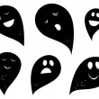Black Ghost silhouettes isolated on white background — Stock Vector