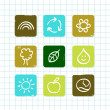 School doodle nature and education icons isolated on white grid — Stock Vector