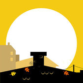 Autumn town black wilhouette with Sunset - vector background — Stock Vector