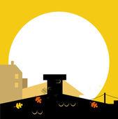 Jesień wilhouette miasta czarny z zachodu słońca - tło wektor — Wektor stockowy