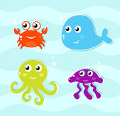 Cute water animals icons collection. — Stock Vector