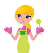 Cooking Mother preparing healthy green food. — Vector de stock