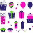 Birthday party icons and elements isolated on white - pink, blue — Stock Vector
