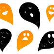 Ghost silhouettes isolated on white ( black and orange ) — Stock Vector
