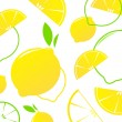 Lemon slices vector retro background or pattern - yellow & white — Stock Vector