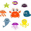 Sea creatures and animals vector icons isolated on white - Imagens vectoriais em stock