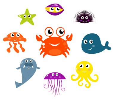 Sea creatures and animals vector icons isolated on white