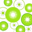 Kiwi slices vector background or pattern - green & white — Stock Vector
