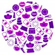 Stock Vector: Cosmetics icons in circle isolated on white - purple