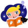 Little child has fear when reading Halloween Night Story - Stock Vector