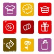 Shopping, commercial and sale doodle retro icons — Stock Vector