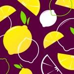 Vector Lemon slices retro background or pattern. — Stock Vector #6387012