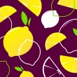 Vector Lemon slices retro background or pattern. — Stock Vector