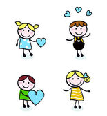 Doodle retro stitch kids with love icons. — Stock Vector