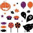 Halloween icons and retro elements isolated on white - orange & — Stock Vector