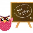 """Pink Owl showing """"back to school"""" — Stockvector"""