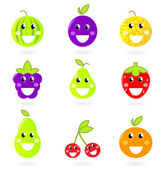 Fruity icon collection - nine Fruit Mascots isolated on white. — Stock Vector
