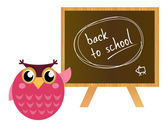 "Pink Owl showing ""back to school"" — Stock Vector"