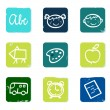 Back to school doodle icons set & elements isolated on white. — Stock Vector