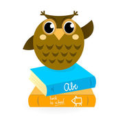 Cartoon Owl with books isolated on white. — Stock Vector