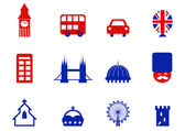 London & English icons and design elements isolated on white. — Stock Vector