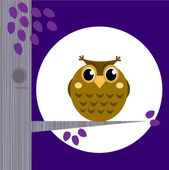 Cute Halloween Owl on Tree Branch with full moon behind — Stock Vector