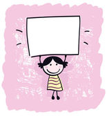 Cute doodle retro kid holding blank banner sign - pink, white. — Stock Vector