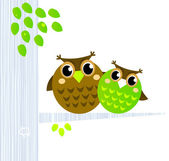 Two cute Owls sitting on the branch isolated on white — Stock Vector