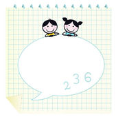 Happy cute Kids & Doodle notepad with Grid. — Stock Vector