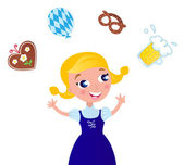Cute Octoberfest Girl in traditional Clothes - icons. — Stock Vector