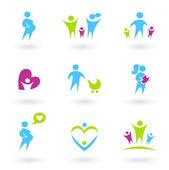 Graviditet, familj och föräldraskap ikoner. — Stockvektor