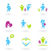 Pregnancy, Family and Parenthood icons. — Stock Vector
