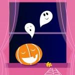 Window Halloween scene with Ghosts and orange Pumpkin head — Stock Vector #6554324