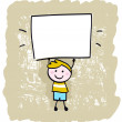Happy kid boy holding blank banner sign — Stock Vector
