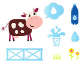 Cow, Milk and Dairy icons collection isolated on white — Stock Vector