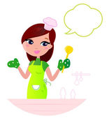 Young beautiful woman with speech bubble cooking in the kitchen. — 图库矢量图片