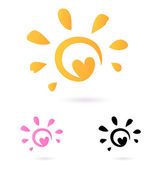 Abstract vector Sun icon with Heart - orange & pink, isolated o — Vecteur