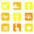 Stock Vector: Egypt icons and design elements block isolated on white.