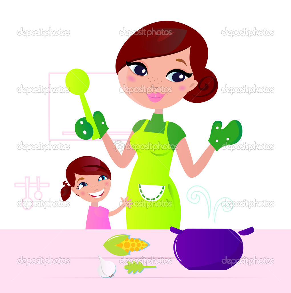 Mom and child cooking together in kitchen. Vector Illustration. — Vettoriali Stock  #6722708