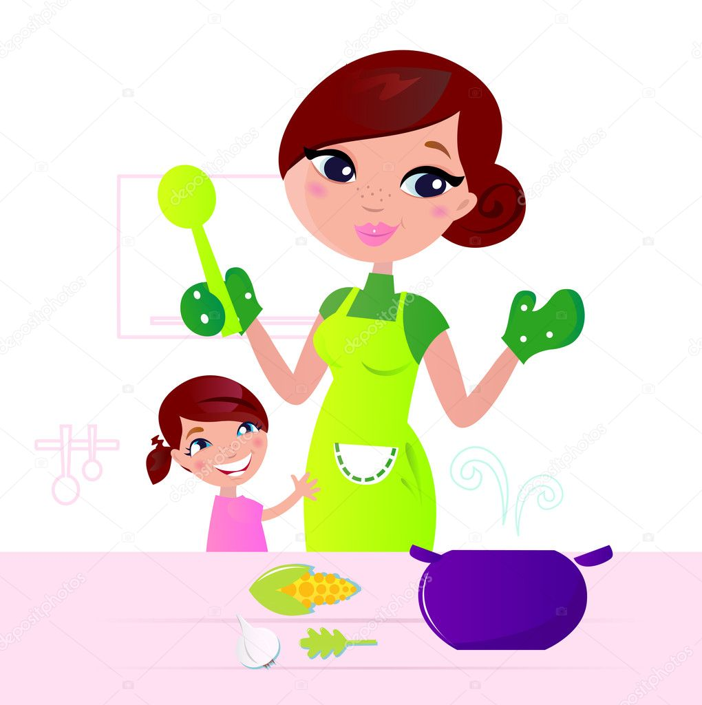 Mom and child cooking together in kitchen. Vector Illustration. — Imagens vectoriais em stock #6722708