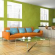 Part of the modern living-room in green colour — Stock Photo
