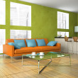 Part of the modern living-room in green colour — 图库照片