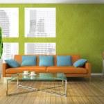 część nowoczesny salon w kolorze zielonym — Zdjęcie stockowe