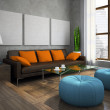 Part of the modern living-room with blue ottomans — Stock Photo
