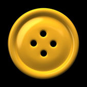 Yellow button for clothing isolated on black background — Stock Photo
