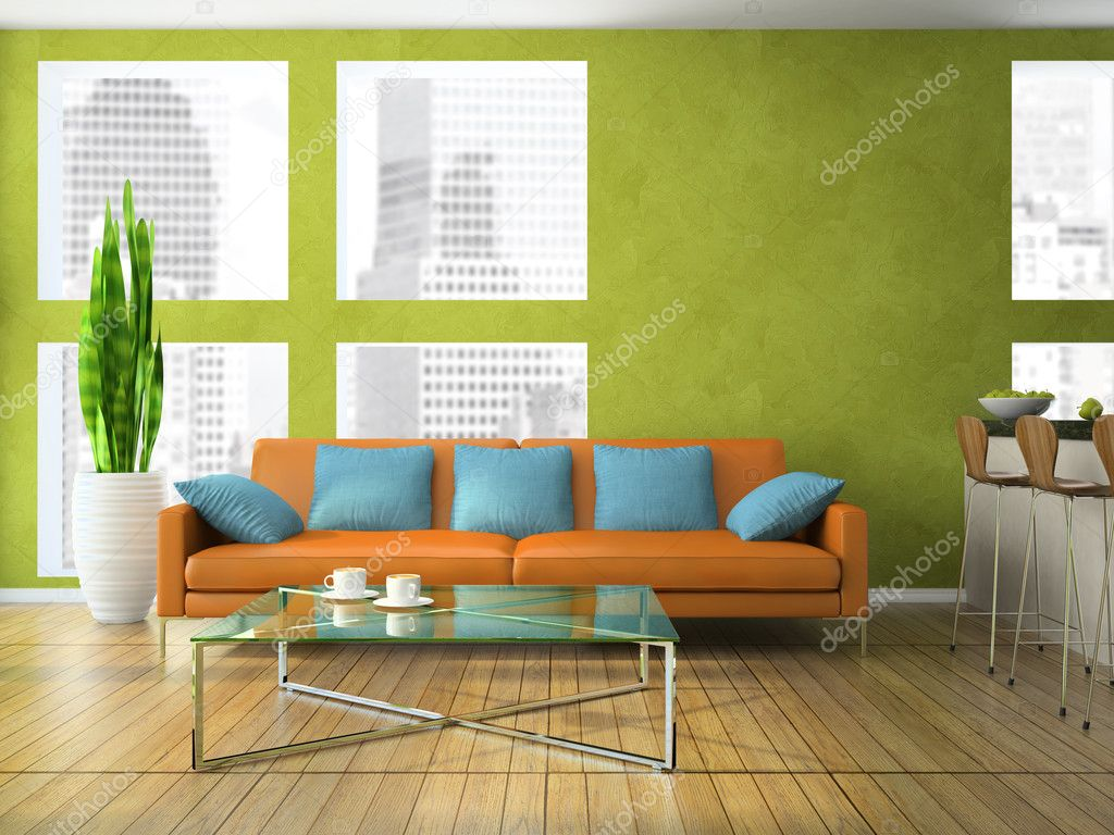 Part of the modern living room in green colour stock for Parts of the living room
