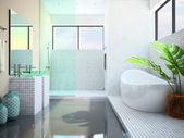 Modern interior of the white bathroom 3D — Stock Photo