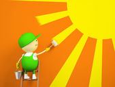 Painter paints the sun on the wall — Stock Photo